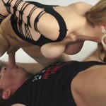 TransBella Tranny Kalena Rios jerking off while getting fucked in pile driver pose