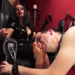 Mistress Ezada Sinn – Look down and lick My feet: Mistress Ezada accepting a new slave