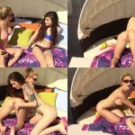 ManyVids Webcams Video presents Girl BrookEvrgreen & HaleyRyder in Brooke and Haley tanning fun cummm