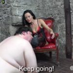 CruelCity presents Shiny Thigh-High Boots Polished by Her Fat Slaves Mouth