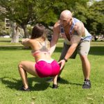 Brickyates in Alexia in Marine works out in a public park with her boyfriend