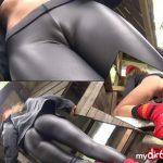 Mydirtyhobby presents Izzy-Mendosa – Meine schwarze glanz Leggings