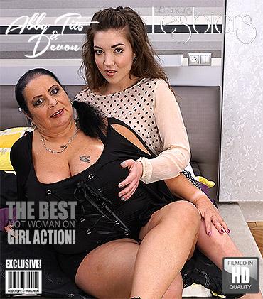hot babe seducing a naughty bbw older lesbian