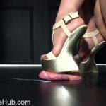 Heel Slut presents Nude Sparkle Strappy Wedges