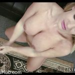Strokies presents Bright Eyed Cali Carter Jerks Cum on to Her Tongue