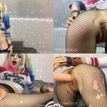 ManyVids Webcams Video presents Girl LittleMissElle in Harley Quinn Huge Dildo Fuck with Creampie