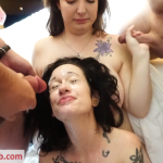 TexxxasBukkake presents Elaine & Haley in Elaine 1st Gangbang and Bukkake Part 2