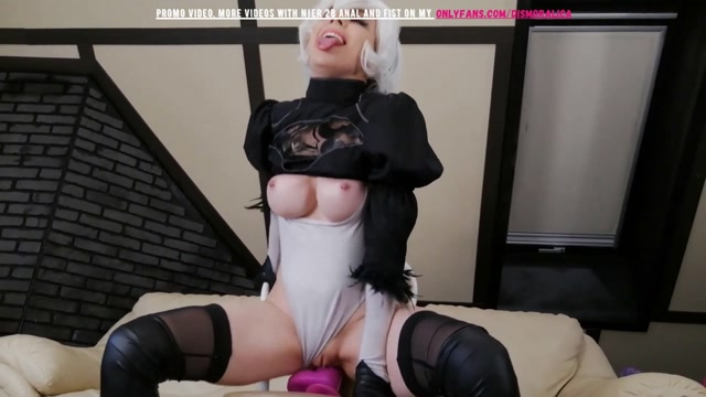 Dismoralica 2B plays with her ass and dildo riding 00012