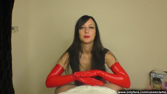 Red Long Latex Gloves Handjob - Cassie Clarke 00000