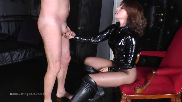 Ball Busting Chicks - Caned, whipped and slapped in the face at early cumming - Ball Abuse 00005