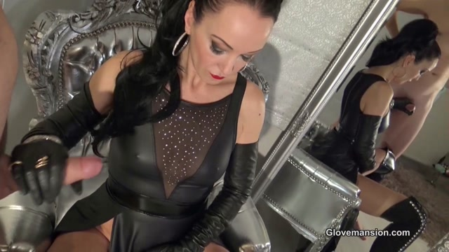 GloveMansion - Fetish Liza - Leather gloves and jewelry handjob part 1 00011