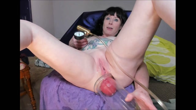MILF stretched monster size anal prolapse pump close-up 00008