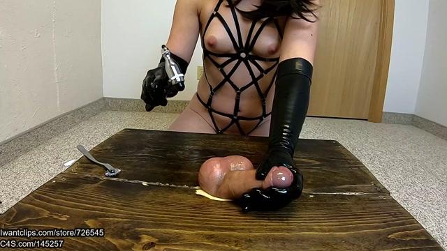 Phantoms Ballbusting Pleasures - Ballbusting Gloved Handjob with new Toys   Ruined orgasm high angle 00009