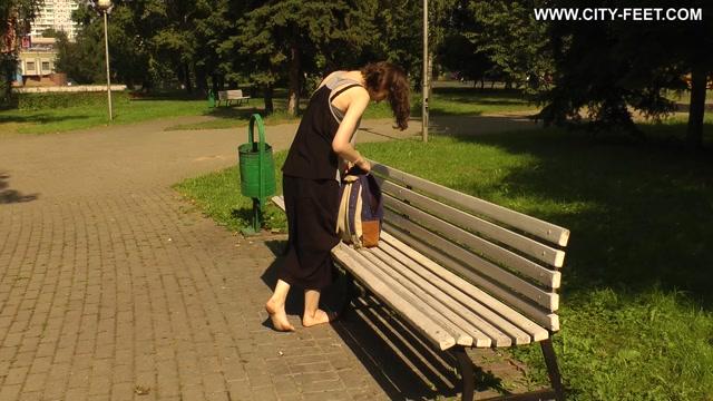 City Feet - A slender barefoot brunette. part 4. 00015