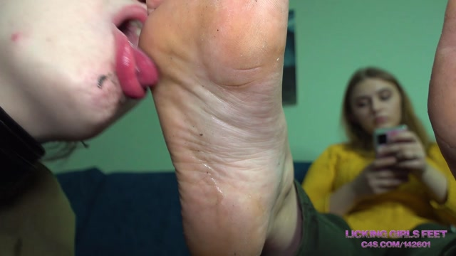 Licking Girls Feet - KATE - First foot worship experience with a slave girl - Very dirty feet 00012