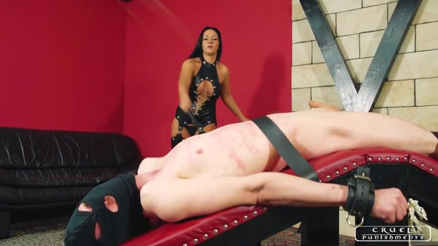 Cruel Punishments - Severe Femdom - Whipped all over his body 00011