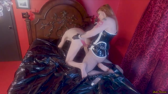 Julie Simones Fetish - Pegging in PVC Corset and Fishnets 00004