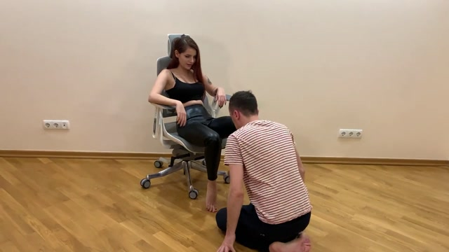 Petite Princess FemDom - Chic Mistress Sofi In Leather Pants and High Heels 00010