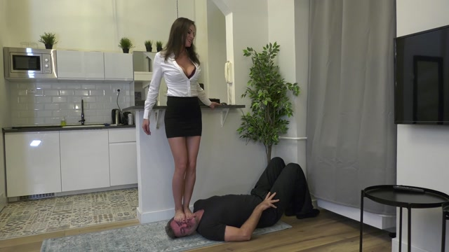 AbbieCatFetish Pathetic Footslave  INHUMAN face trampling and face standing 00002