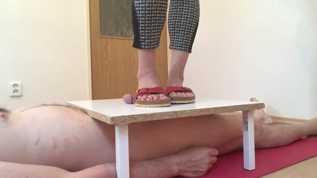 Mistress Fatalia - Red Birkenstock Sandals On My Cock And Balls Cbt 00002