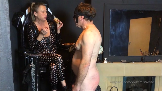 Mistress V - My Slave Having His Balls Shocked While Eating My Spat Out Food – ELITE PRODOMME IN HUDDERSFIELD 00002