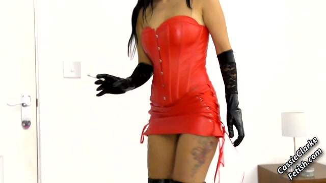 Smoking Hot Smokejob In Red Leather And Gloves 2 - Cassie Clarke - HandJob 00003