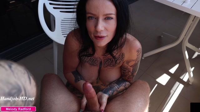 Big Tit Step MILF Gives Amazing Mature Experienced Sensual Oiled Up Handjob on the Balcony POV - Melody Radford - HandJob 00008