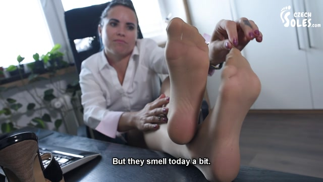 Czech Soles - Blue Kate - Office secretary foot seduction in pantyhose and high heels 00004