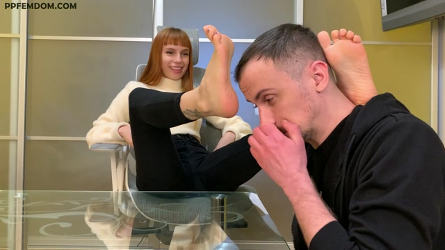 Petite Princess FemDom - Foot Gagging, Toe Sucking and Feet Licking Femdom With Goddess Kira and Her Slave 00010